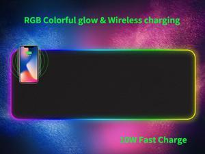 2-in-1 luminous mobile phone personality wireless charger new RGB four-sided oversized rubber LED waterproof non-slip gaming mouse pad A