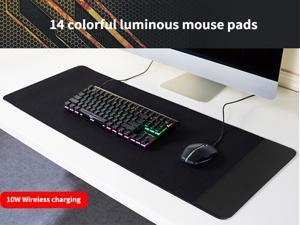 2-in-1 mobile phone personality 10W wireless light charger new RGB four-sided oversized rubber LED waterproof non-slip gaming mouse pad A