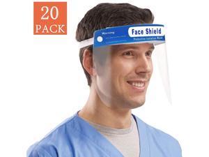 Face Shield, 20 Pcs Anti-fog Full Safety Face Shield, Universal Reusable Face Protective Visor for Eye Head Protection, Anti-Spitting Splash Facial Cover for Women, Men