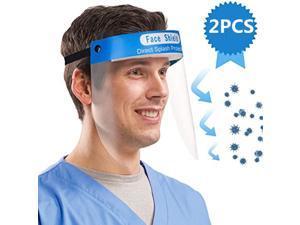 Face Shield, 2 Pcs Anti-fog Full Safety Face Shield, Universal Reusable Face Protective Visor for Eye Head Protection, Anti-Spitting Splash Facial Cover for Women, Men