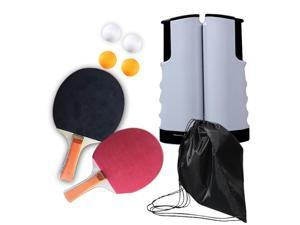 Ping Pong Paddle Set, Table Tennis Paddle Set with Retractable Net, Balls and Portable Case, Perfect for Home Indoor or Outdoor Play