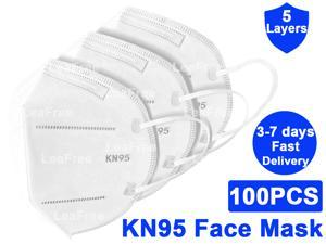 100PCS KN95 Mask, 5 layer Anti Pollution Earloop Face Mask for Personal Protective Respirator Reusable, Non-Disposable Face Mask Work Mask