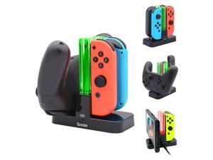 Gooze Nintendo Switch Controller Charger, Charging Dock Stand Station for Switch Joy-con and Pro Controller with Charging Indicator and USB-C Charging Cable
