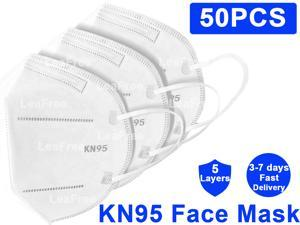 50PCS KN95 Face Mask, 5 layer Anti Pollution Earloop Face Masks for Personal Protective Respirator Reusable, Work Mask