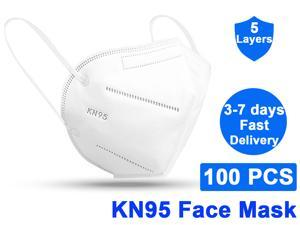 100Pcs KN95 Mask Non-Disposable Protective Mask Surgical Breathable Face Mask Anti Flu Mask, Breathable, Dustproof, Nonwoven Fabrics, 5 Layers Protective Face Mask