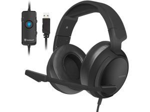 USB Gaming Headset with 7.1 Surround Sound Stereo, USB Headphones with Noise Canceling Mic & RGB Light, Compatible with PC, Laptop, Steam - Black