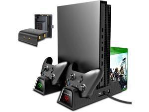 Vertical Cooling Stand Compatible with Xbox ONE X/ONE S/Regular ONE, Cooler Cooling Fan with 2PACK 600mAh Batteries,Games Storage, Dual Controller Charging Docking Station for Xbox ONE/S/X