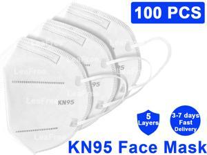 100PCS KN95 Face Mask, 5 layer Anti Pollution Earloop Face Mask for Personal Protective Respirator Reusable, Non-Disposable Face Mask Work Mask KN95 Mask
