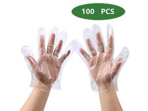 (US stock)100pcs Disposable Food Prep Gloves, Plastic Food Safe Disposable Gloves, Transparent, Food Handling, Cooking Cleaning, Small Size