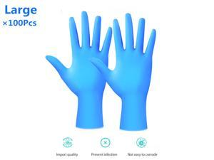 100Pcs Disposable Nitrile Gloves Protective Rubber Cleaning Gloves Laboratory Dental Examination Protective Gloves, Cool Blue(Large)