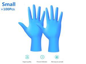 100Pcs Disposable Nitrile Gloves Protective Rubber Cleaning Gloves Laboratory Dental Examination Protective Gloves, Cool Blue(Small)