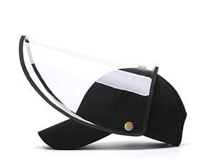 Safety Full Face Shield Hat Detachable Baseball Cap Eye Protective Adjustable Hat Anti-Saliva Anti-Spitting Outdoor Sun for Men and Women Black