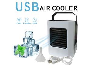Portable Mini Air Cooler Mobile Air Conditioner with Funnel USB Air Conditioner Mobile Personal Air Cooler Portable Small Evaporative Cooler with Water Cooling 3 Speeds