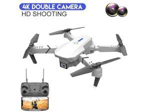 LSRC-E525 WIFI FPV Drone with Wide Angle HD 4K Double Camera Height Hold RC Foldable Quadcopter Drone Gift Toy ,White