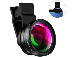Pro Lens Kit for iPhone, Samsung, Pixel, Macro and Wide Angle Lens with LED Light and Travel Case