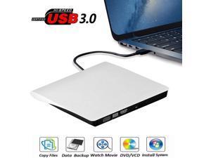 External CD Drive, USB 3.0 Portable CD/DVD +/-RW Drive Slim DVD/CD ROM Rewriter Burner Compatible with Laptop Desktop PC Windows Linux OS Apple Mac (Color: White)