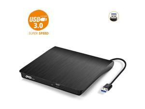 External CD Drive, USB 3.0 Portable CD/DVD +/-RW Drive Slim DVD/CD ROM Rewriter Burner Compatible with Laptop Desktop PC Windows Linux OS Apple Mac (Color: Black)
