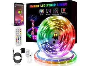 LED Strip Lights, Smart Color Changing LED Lights 16.4ft/5m SMD 5050 RGB Light Strips with Bluetooth Controller Sync to Music Apply for Bedroom, Party, Home Decoration