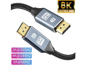8K DisplayPort Cable (5M/16.4FT) DP 1.4, Ultra HD 8K Video Resolution Copper Cord 8K @60Hz 4K@144Hz High Speed 32.4Gbps HDCP 3D Slim Flexible DP to DP Cable for TV Gaming PC Monitor Laptop