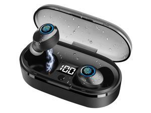 Bluetooth Wireless Eardphones,Ynigimy TWS Wireless Headphones Deep Bass Hi-Fi Stereo Sound Bluetooth 5.0 Headsets IPX6 Waterproof in-Ear Earbuds with Mic and Smart LCD Digital Display Charging Case