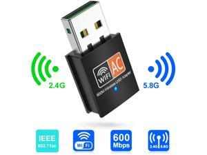 USB Wireless Adapter AC600Mbps Realtek RTL8811CU Chipset Mini Type Dual Band 11AC WiFi Dongle IEEE 802.11ac 600Mbps for Laptop Desktop IPTV USB 3.0 Network Adapter Support Windows 10 Mac Linux