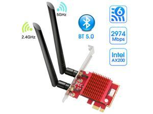 PCIe WiFi Card,WiFi 6 Wireless Network Card AX200 Dual Band PCI-Express Card Adapter, 2.4GHz/5.8GHz,Bluetooth 5.0 | MU-MIMO | Ultra-Low Latency PCI-E Card, Supports Windows 10 64 Bit System.