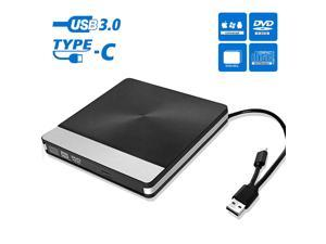 [Upgraded Model] External DVD Drive for Laptop, Portable High-Speed USB-C & USB 3.0 CD Burner/DVD Reader Writer for PC Desktops, Compatible with Windows/Mac OSX/Linux (USB C & USB 3.0)