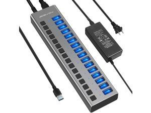 Powered USB Hub - 16 Ports 80W USB 3.0 Data Hub - with Individual On/Off Switches and 12V/6A Power Adapter USB Hub 3.0 Splitter for Laptop, PC, Computer, Mobile HDD, Flash Drive and More