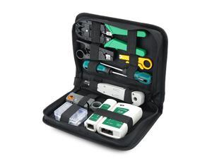 RJ45 Crimping Tool Kit for RJ11/RJ12/CAT5/CAT6/Cat5e, Computer Maintenacnce LAN Cable Tester Network Repair Tool Set, Wire Stripping Cutter Coax Crimper Plug