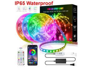 IP65 Waterproof LED Strip Lights, 50ft/15M RGB LED Light Strip with Bluetooth Remote App Controller Color Changing 5050 LED Rope Lights Sync to Music for Home Garden DIY Decoration Flexible Strip