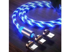 LED Flowing Magnetic Charger Cable Light Charging Cable Magnetic Streamer Absorption USB Snap Quick Connect 3 in 1 USB Cable (1 USB Cable + 3 Magnetic Plugs) (Blue)