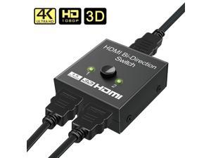 HDMI Switch Bi-directional HDMI Splitter Manual HDMI Switcher 2 In 1 Out or 1 Input 2 Output Supports HD/4K/3D/1080P, for Xbox/PS4/PS3/Roku/Blu-Ray player/DVD/HDTV