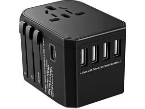 Worldwide Travel Adapter, International Power Adapter with 4 USB Ports 1 Type C Port for Cell Phone, Laptop, Tablet, Universal All in One AC Outlet for US, EU, UK, AUS 150+ Countries, Black