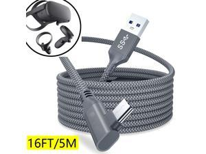 Compatible for Oculus Quest 2 Link Cable 16FT/5M, Nylon Braided USB 3.0 Type A to USB C Type-C 5Gbps VR Headset Charging Cable for Oculus Quest 2/1, High Speed Data Transfer for Gaming PC (16Feet)