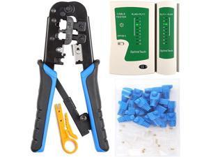 RJ45 Crimp Tool Kit, 50 PCS RJ45 Connectors, 50 PCS Covers, 1 Cat5 Cat5e Ethernet Crimping Tool, 1 RJ45 Tester and 1 Mini Wire Stripper, RJ11, 6P/ RJ12, 8P/ RJ45 Crimp Tool Set