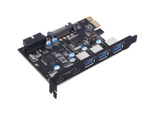 PCI Express Card to 3 PORTS USB 3.0 2 PORTS USB3.1 Type C Internal USB 3.0 20PIN  7 Ports USB HUB pcie to Type-c Converter Card