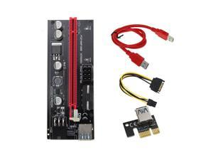 009s 1x To 16x PCI Express Riser Card PCI-E Extender USB3.0 Cable Dual 6pin 4pin Molex SATA To 6Pin For ETH Bitcoin Mining Miner,60cm