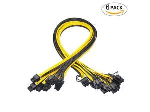 6 Pcs 6 Pin PCI-e To 8 Pin (6+2) PCI-e (Male To Male) GPU Power Cable 50cm For Graphic Cards Mining HP Server Breakout Board,50cm