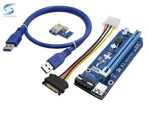 EMS ,bitcoin miner PCE164P-NO3 0.6M PCIe PCI-E 1X to 16X Riser Card Extender + 15Pin SATA to 4Pin IDE cable for mining
