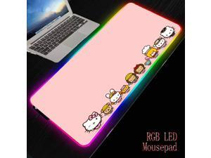 Hello Kitty Pink Durable Rubber PC Laptop Anti-slip Mouse Pad RGB Colorful LED Lighting Game Player Lock Edge Desk Pad