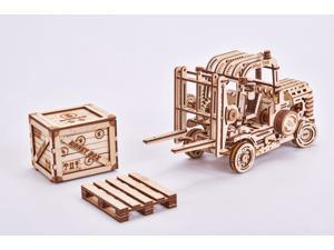 DIY build your own forklift.  3D wood mechanical puzzle.  All materials included in the kit.   Made of birch, assembled like a puzzle with no glue and rubber band powered.  Wind up and watch it go.