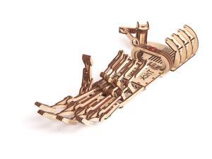 DIY build your own mechanical hand.  All materials included in the kit.   Made of birch, assembled like a puzzle with no glue and rubber bands.  Slip on hand and have fun!