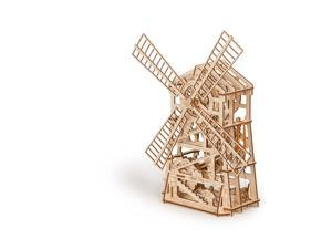 DIY build your own windmill.  3D wood mechanical puzzle.  All materials included in the kit.   Made of birch, assembled like a puzzle with no glue and rubber band powered.  Wind up and watch it go.