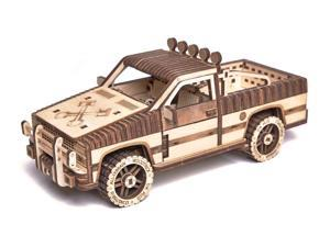 DIY build your own pick up truck.  3D wood puzzle.  All materials included in the kit.   Made of birch, assembled like a puzzle with no glue.  Truck has doors, hood and tail gate that move.
