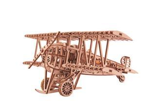 DIY build your own plane. 3D wood puzzle. All materials included in the kit. Made of birch, assembled like a puzzle with no glue. Plane winds up with rubber band power and taxis across the floor.