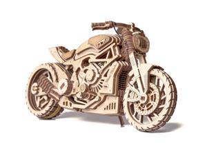DIY build your own motorcycle. 3D wood puzzle. All materials included in the kit. Made of birch, assembled like a puzzle with no glue. Wind up rubber-bands and watch the motorcycle go across the floor