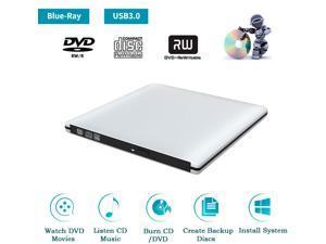 TROPRO External 3D Blu ray CD DVD Drive, Portable USB 3.0 Blue-ray CD/DVD+/-RW Burner Player Writer Reader Rewriter for PC Netbook Laptop Desktop with Mac OS Windows XP/7/8/10 Silver