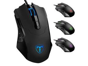 TROPRO Gaming Mouse Wired Breathing Light Ergonomic Game USB Computer Mice Multicolor Gamer Desktop Laptop PC Gaming Mouse, 6 Buttons for Windows 7/8/10/XP Vista Linux, Black