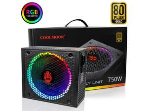 COOLMOON ATX Power Supply 750W Fully Modular 80+ Gold Certified with Addressable RGB Light - Vairous Color Mode, RGB-750W