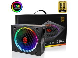 TROPRO ATX Power Supply 750W Fully Modular 80+ Gold Certified with Addressable RGB Light - Vairous Color Mode, RGB-750W